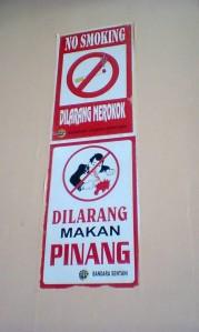 Peringatan Dilarang Makan Pinang